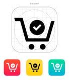 Ícone da verificação do carrinho de compras. ilustração stock