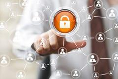 Ícone da Web da segurança do fechamento do sinal do botão do negócio Foto de Stock