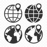 Ícone da Web do globo e pino do lugar Ícone da terra do planeta ajustado com pino do ponteiro Fotos de Stock
