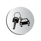 Ícone dado forma carro degradado do keychain do botão ilustração stock