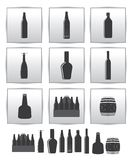 Ícone das bebidas alcoólicas do vetor. jogo quadrado do cinza ilustração stock