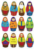 Ícone das bonecas do russo dos desenhos animados Imagem de Stock