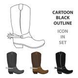 Ícone das botas de vaqueiro no estilo dos desenhos animados no fundo branco Ilustração do vetor do estoque do símbolo do rodeio ilustração royalty free