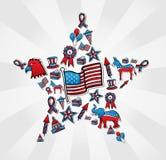 Ícone das eleições dos EUA ajustado na estrela Fotografia de Stock Royalty Free