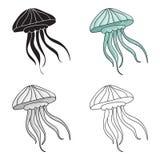 Ícone das medusas no estilo dos desenhos animados isolado no fundo branco Ilustração do vetor do estoque do símbolo dos animais d Foto de Stock