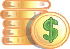 Ícone das moedas de ouro Imagens de Stock
