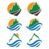 ícone das montanhas, das ondas e do sol Vetor Imagem de Stock