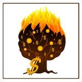 Ícone de árvore ardente do dinheiro Imagem de Stock