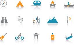 Ícone de acampamento ajustado - azul Imagens de Stock Royalty Free