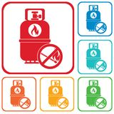 Ícone de acampamento da garrafa de gás Imagens de Stock