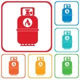 Ícone de acampamento da garrafa de gás Ícone liso isolado Fotos de Stock Royalty Free