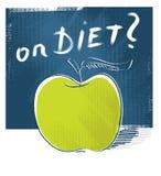 Ícone de Apple - na dieta (desenho da carta branca) Imagens de Stock