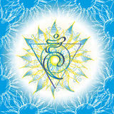 Ícone de Chakra Vishuddha, símbolo ayurvedic, teste padrão de flor Fotografia de Stock