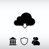 Ícone de computação da transferência da nuvem do vetor, ilustração do vetor liso Imagens de Stock Royalty Free