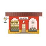 Ícone de cozimento dos desenhos animados da loja no estilo liso Mostra da padaria em ruas da cidade Projete o elemento para o pas ilustração royalty free