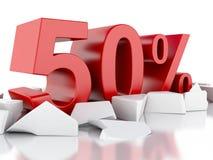 ícone de 3d 50% em superfície rachada Fotografia de Stock
