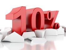 ícone de 3d 10% em superfície rachada Fotografia de Stock