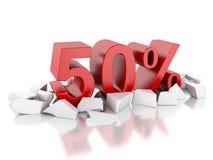 ícone de 3d 50% em superfície rachada Fotografia de Stock Royalty Free