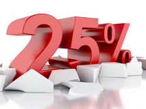 ícone de 3d 25% em superfície rachada Foto de Stock