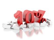 ícone de 3d 10% em superfície rachada Foto de Stock Royalty Free