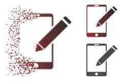 Ícone de desaparecimento de Dot Halftone Smartphone Edit Pencil ilustração stock