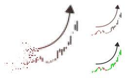 Ícone de desintegração da tendência de Dot Halftone Candlestick Chart Growth ilustração do vetor