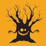 Ícone de Dia das Bruxas: A árvore de intimidação Fotos de Stock Royalty Free