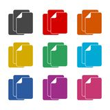 Ícone de documento do arquivo múltiplo ou Logo Design Element, grupo de cor ilustração stock