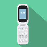 Ícone de Flip Cellphone Ilustração do vetor do dispositivo móvel Projeto liso do estilo com sombra longa ilustração stock