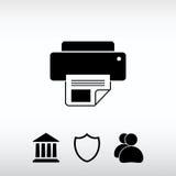 Ícone de impressora, ilustração do vetor Estilo liso do projeto Foto de Stock