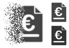 Ícone de intervalo mínimo Shredded da fatura do Euro de Pixelated ilustração royalty free