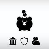 Ícone de Moneybox, ilustração do vetor Estilo liso do projeto Fotografia de Stock