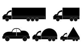 Ícone de muitos veículos - ícone do caminhão - Van Symbol - veículo de viagem do carro de motor - transporte o ícone, isolado Pro ilustração do vetor