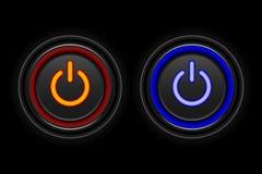 Ícone de néon vermelho e azul do botão fotos de stock