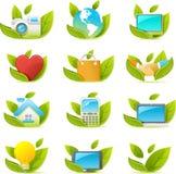 Ícone de Nouve ajustado: tema verde ilustração stock