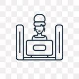 Ícone de observação do vetor da tevê isolado no fundo transparente, linha ilustração stock