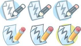 Ícone de papel do lápis Fotos de Stock