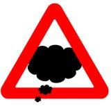 Ícone de pensamento de advertência engraçado da nuvem do sinal de estrada Fotografia de Stock