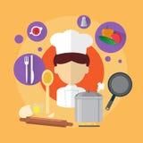 Ícone de Professional Cook Man do cozinheiro chefe Imagem de Stock