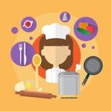 Ícone de Professional Cook Woman do cozinheiro chefe Foto de Stock