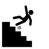 Ícone de queda do vetor do perigo das escadas Fotografia de Stock Royalty Free