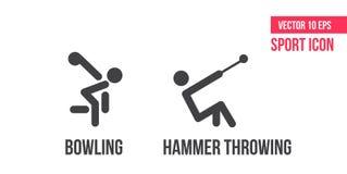 Ícone de rolamento e ícone de jogo do martelo, logotipo Ajuste da linha ícones do vetor do esporte pictograma do atleta, bloco do ilustração royalty free