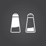 Ícone de sal Versões do sólido e do esboço Ícones brancos em um CCB escuro ilustração stock