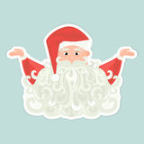 Ícone de Santa Claus com a barba encaracolado no fundo azul ilustração do vetor