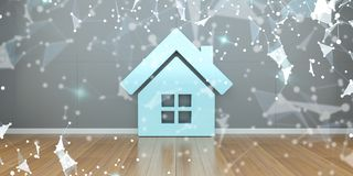Ícone de Smarthome no interior com rendição da conexão 3D Imagens de Stock Royalty Free