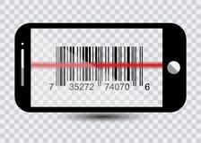 Ícone de Smartphone com códigos de barras da amostra para o ícone de varredura com laser vermelho, ilustração do vetor Imagem de Stock Royalty Free