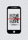 Ícone de Smartphone com códigos de barras da amostra para o ícone de varredura com laser vermelho, ilustração do vetor isolada Imagem de Stock Royalty Free