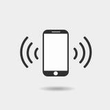 Ícone de Smartphone no plano na moda no fundo cinzento Imagem de Stock Royalty Free