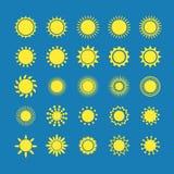 Ícone de Sun com grupo da sombra, ilustração no fundo azul Imagem de Stock