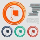 Ícone de Tonometer O verificador da pressão sanguínea nos botões vermelhos, azuis, verdes, alaranjados para seu Web site e no pro Foto de Stock Royalty Free